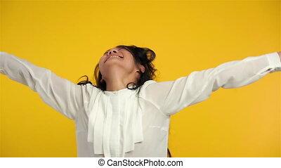 여자, 성공, 황홀한, 기쁨, 위로의, 무기, 경축하는, 뛰는 것, 아시아 사람