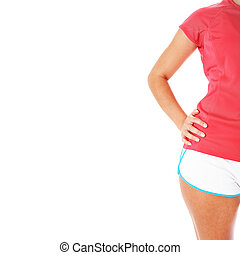 여자, 셔츠, 나이 적은 편의, 고립된, 적당, 하얀 빨강
