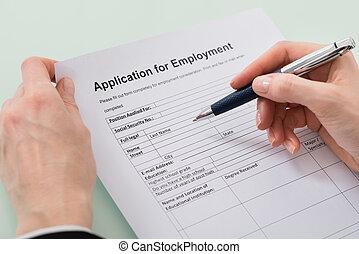 여자, 손, 서류 작성, 고용, 형태
