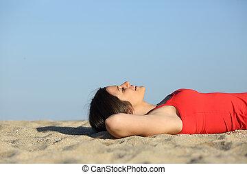여자, 쉬는 것, 와..., 몸을 나른하게 하는, 바닷가에