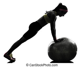 여자, 실루엣, 연습, 운동시키는 것, 적당, 추천, 올린다