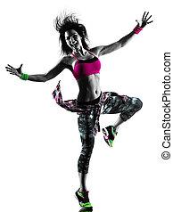 여자, 실루엣, zumba, 댄스, 고립된, 춤추는 사람, 적당, 식