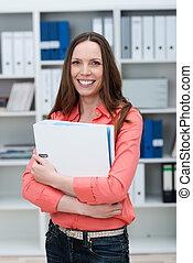 여자 실업가, 보유, a, 큰, 파일