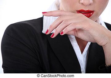 여자 실업가, 상세한 묘사, 블론드인 사람