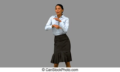 여자 실업가, 스크린, 디스코, 회색, 댄스