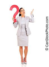 여자 실업가, 와, 물음표