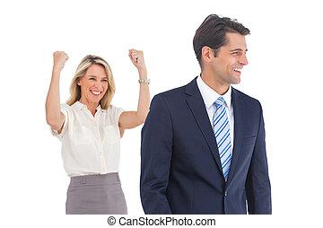 여자 실업가, 와, 올라가는 팔, 와...