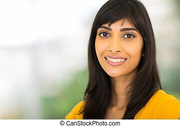 여자 실업가, 인도 사람, 클로즈업