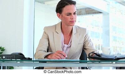 여자 실업가, 일, 그녀, 사무실