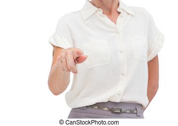 여자 실업가, 지적, 무엇인가, 와, 손가락