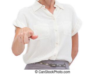 여자 실업가, 지적, 무엇인가, 와, 손