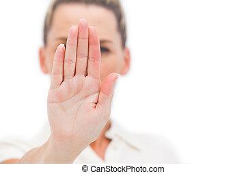 여자 실업가, 함, 중지, 와, 손바닥