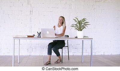 여자 실업가, 휴대용 퍼스널 컴퓨터, 사무실, working., 그녀