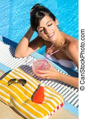 여자, 에서, 웅덩이, 몸을 나른하게 하는, 와..., 술을 마시는 것