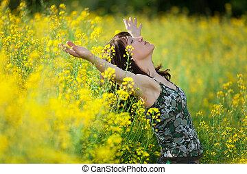 여자, 에서, 자연