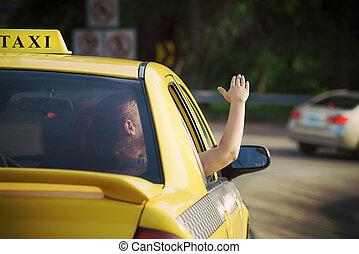 여자, 에서, 택시, 물결이 이는 것, 은 나누어 준다, 의, 차 창