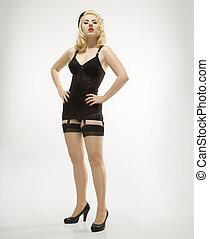 여자, 에서, retro, lingerie.
