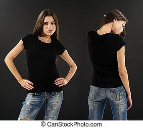 여자, 와, 공백, 까만 셔츠, 위의, 검은 배경
