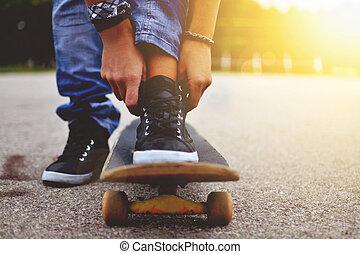 여자, 와, 그만큼, 스케이트보드, 아물다