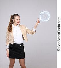 여자, 와, 백열하는 것, 마술적인, 에너지, ball.