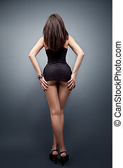 여자, 와, 성적 매력이 있는, 몸, 와..., 긴 다리