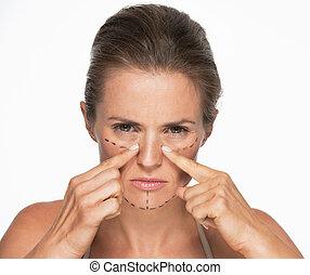 여자, 와, 성형 수술, 기호, 통하고 있는, 얼굴, 뾰족하게 함, 통하고 있는, 코