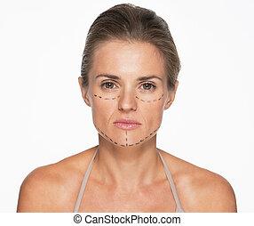 여자, 와, 성형 수술, 기호, 통하고 있는, 얼굴