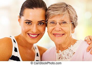 여자, 와..., 연장자, 어머니, 클로우즈업