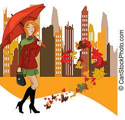 여자, 와, 우산, 도시의