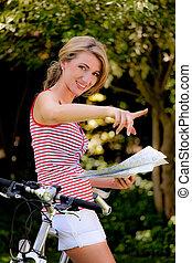 여자, 와, 자전거