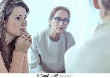 여자, 와..., 정신 요법가, 동안에, 특수한 모임, 의, 후원 그룹