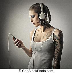 여자, 와, 헤드폰