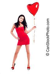 여자, 와, a, balloon