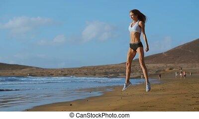 여자 운동가, 입는 것, 운동복, 함, 은 쭈그린다, 운동, outdoors., 적당, 여성, 잘되는 것,...