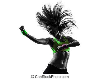 여자, 운동시키는 것, 적당, zumba, 댄스, 실루엣