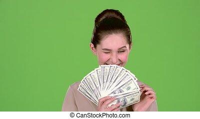 여자, 원, 그만큼, 대성공, 에서, 그만큼, lottery., 녹색, screen., 고속도 촬영에 의한...