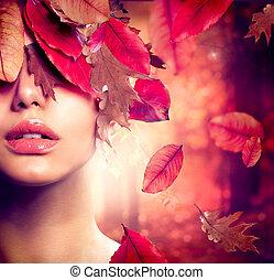 여자, 유행, portrait., 가을, 가을