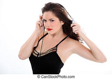 여자, 음악을 듣는 것, 와, 음악, 와, 이어폰
