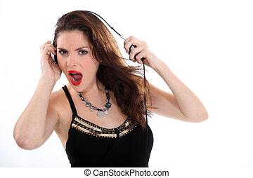 여자, 음악을 듣는 것, 와, headphones.