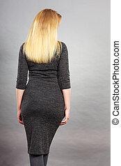 여자, 입는 것, 단단히, 의복, 뒤의 보기