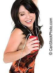 여자, 즐기, 음악