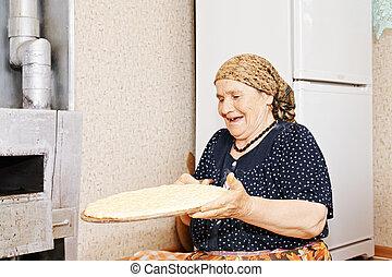 여자, 집에서 만든, bread