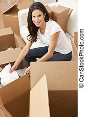 여자, 집, 단일, 상자, 이동, 꾸러미를 푸는 것