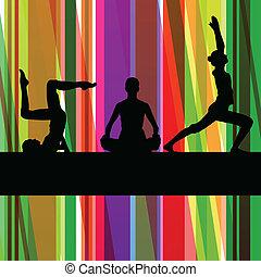 여자, 체조, 식, 적당, 삽화, 다채로운, 선, 배경, 벡터
