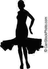 여자, 춤추는 사람, 밀려서