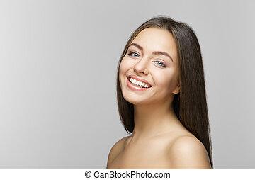 여자, 치음의, whitening., 이, care., smile.