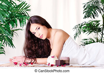 여자, 통하고 있는, 그만큼, 마사지 테이블
