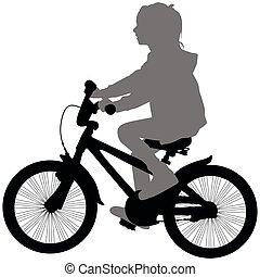 여자, 통하고 있는, 자전거