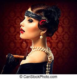 여자, 포도 수확, 여송연, portrait., retro, 유행에 따라 디자인 하는, 소녀
