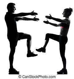 여자, 한 쌍, 운동시키는 것, 하나, 적당, 연습, 남자